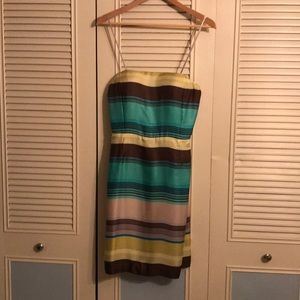 Size 8 Silk Multi Colored Strapless Dress